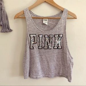 Pink • cropped tank top muscle cut sequin detail